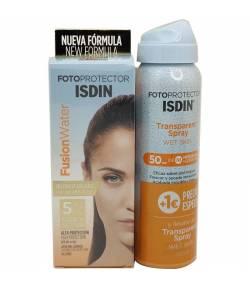 Fotoprotector Fusion Water SPF50 50ML + Bruma Corporal Wet Skin 100ml ISDIN Protección solar