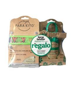 Pulsera Antimosquitos Verde + Spray Repelente 75ml PARAKITO Repelentes