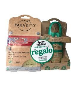 Pulsera Antimosquitos Roja + Spray Repelente 75ml PARAKITO Repelentes