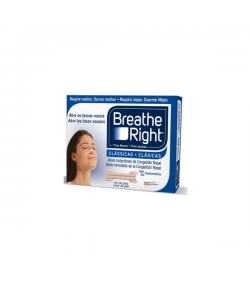 Tiras Nasales BREATHE RIGHT Clásicas T-G 30ud Ronquidos