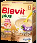 Blevit Plus Duplo 8 Cereales con Miel y Galletas María 600gr 8 Cereales