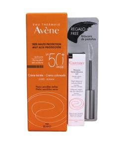 Crema Coloreada SPF 50+ AVÈNE 50ml + Máscara Negra de Alta Tolerancia Protección solar