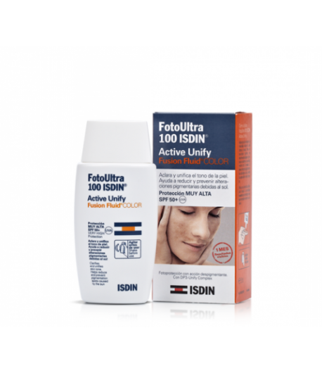 Fotoprotector Active Unify Fusion Fluid Color 100+ ISDIN 50ml Protección solar