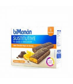 Barritas Chocolate Negro y Naranja Sustitutive BIMANAN 8ud