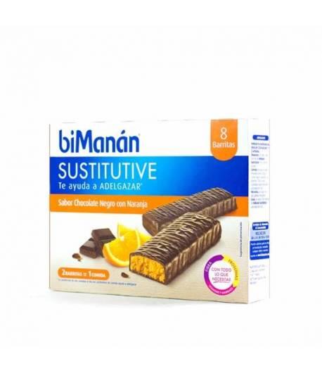 Barritas Chocolate Negro y Naranja Sustitutive BIMANAN 8ud Sustitutivos