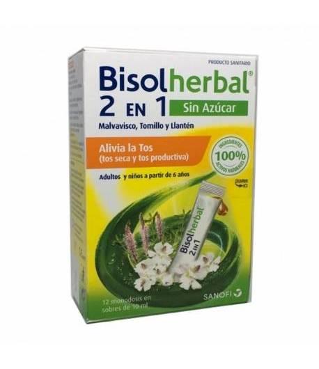 Jarabe Antitusivo BISOLHERBAL 2 EN 1 sin azúcar 12x10ml